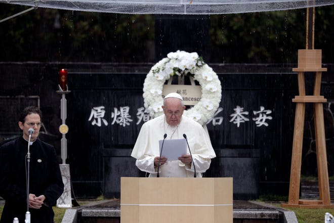 Pope Francis delivers his speech at the Atomic Bomb Hypocenter Park, Sunday, Nov. 24, 2019, in Nagasaki, Japan.