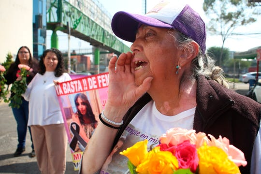 Teresa Maya, the mother of murder victim Briseida Carreno, calls for justice during a procession for felled women like her daughter, in Ecatepec, a suburb of Mexico City, Saturday, Nov. 23, 2019.