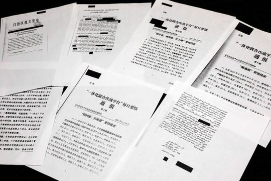 A sample of classified Chinese government documents leaked to a consortium of news organizations, is displayed in New York, Friday, Nov. 22, 2019.