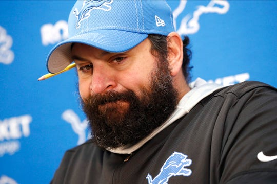 Detroit Lions coach Matt Patricia talks to reporters after Sunday's loss.