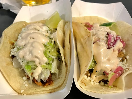 A pair of tacos ($3.50/each) from the Eat Bold food truck.