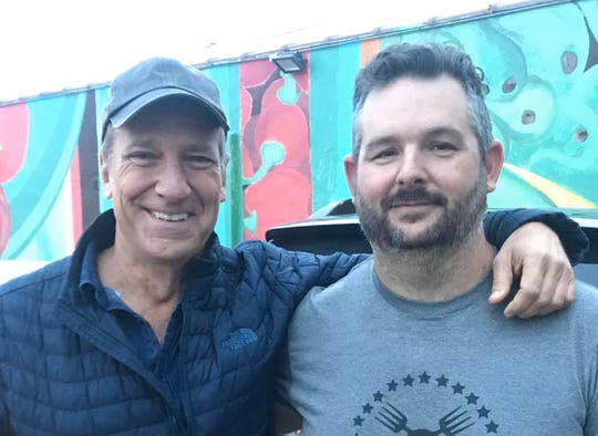 """Mike Rowe and Jonathan Lawler take a photo together. Lawler's farm, Brandywine Creek Farms, will be featured on the next season of """"Returning The Favor,"""" Rowe's popular Facebook Watch show."""