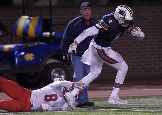 MRA's Joe Perkins beats the last defender before scoring against Jackson Prep in the Class 6A MAIS state football championship on Nov. 23, 2019, at Mississippi College in Clinton, Mississippi.