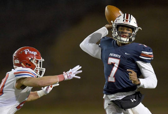 MRA's Philip Short (7) throws against Jackson Prep in the Class 6A MAIS State football championship on Saturday, November 23, 2019, at Mississippi College in Clinton, Miss.