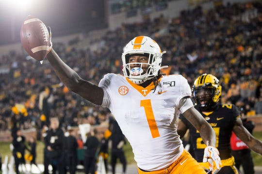Tennessee wide receiver Marquez Callaway celebrates after scoring against Missouri on Saturday.