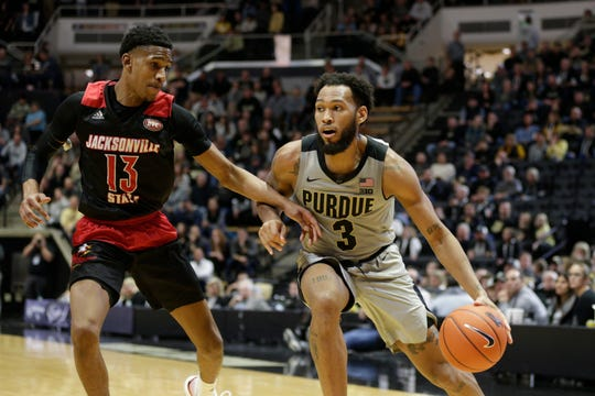 Jacksonville State guard Elias Harden (13) guards Purdue guard Jahaad Proctor (3) during the second half of a NCAA men's basketball game, Saturday, Nov. 23, 2019 at Mackey Arena in West Lafayette.