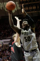 Purdue forward Trevion Williams (50) goes up for a layup during the first half of a NCAA men's basketball game, Saturday, Nov. 23, 2019 at Mackey Arena in West Lafayette.