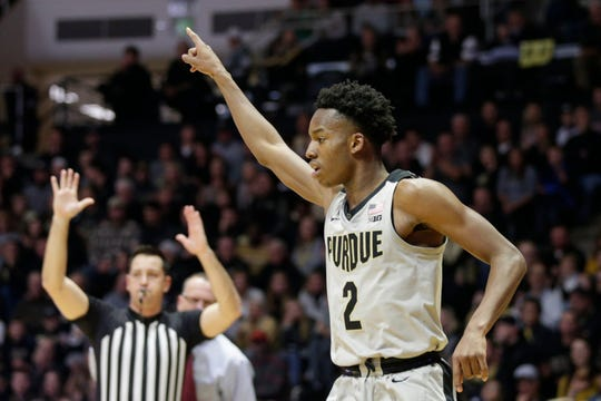 Purdue guard Eric Hunter Jr. (2) reacts after a three point during the first half of a NCAA men's basketball game, Saturday, Nov. 23, 2019 at Mackey Arena in West Lafayette.