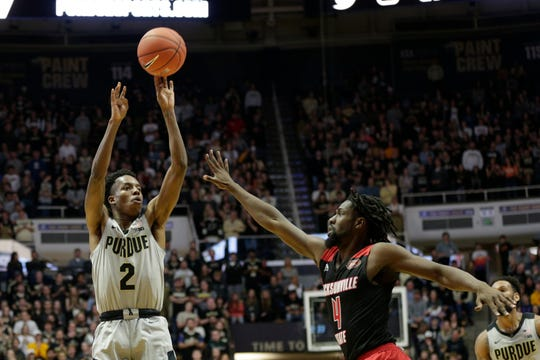 Purdue guard Eric Hunter Jr. (2) goes up for two over Jacksonville State point guard Ty Hudson (4) during the first half of a NCAA men's basketball game, Saturday, Nov. 23, 2019 at Mackey Arena in West Lafayette.