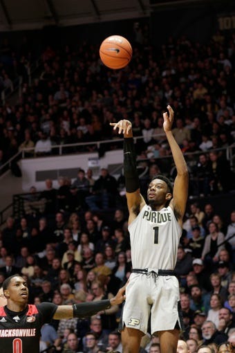 Purdue forward Aaron Wheeler (1) goes up for three during the first half of a NCAA men's basketball game, Saturday, Nov. 23, 2019 at Mackey Arena in West Lafayette.
