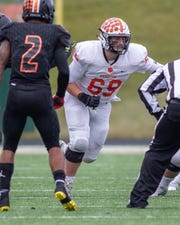 Offensive tackle Brad Luketic played a key role in Brighton's ball-control offense against Belleville in the state Division 1 semifinals on Saturday, Nov. 23, 2019 at Howell.