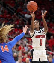Louisville's Dana Evans leads the team with 20 points per game this season.