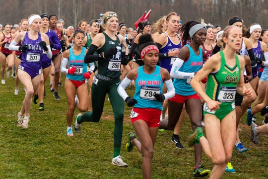 Annie Fuller races during the start of the NCAA Championships.