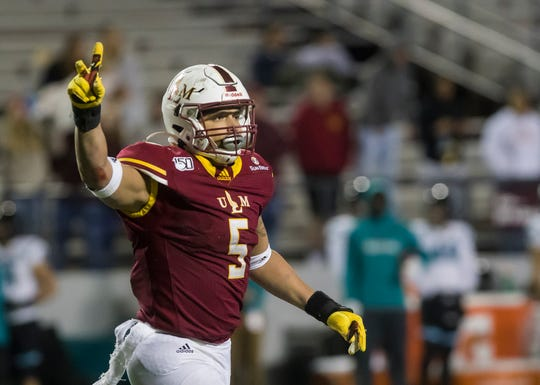 ULM's Kerry Starks (5) will start at one defensive end position while Sam Miller is expected to step in at the other spot after Donald Louis was ejected for targeting against Coastal Carolina. Louis will be eligible to play in the second half.