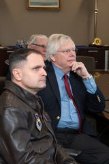 "Robert Arnold, the grandson of Air Force pioneer Gen. Henry ""Hap"" Arnold, listens as Muir S. Fairchild Research Information Center faculty members detail the history of Air University and their efforts to preserve that history, Nov. 13, 2019, Maxwell Air Force Base."