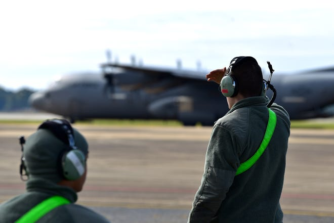Airmen from the 19th Aircraft Maintenance Squadron stand-by for arriving aircraft during the ROCKI 20-01 dispersed basing scenario at Maxwell Air Force Base, Nov. 17, 2019.