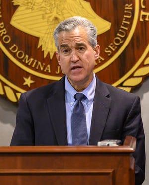 U.S. Attorney Josh Minkler speaks at a Nov. 18 press conference following the arrest of Muncie Mayor Dennis Tyler.