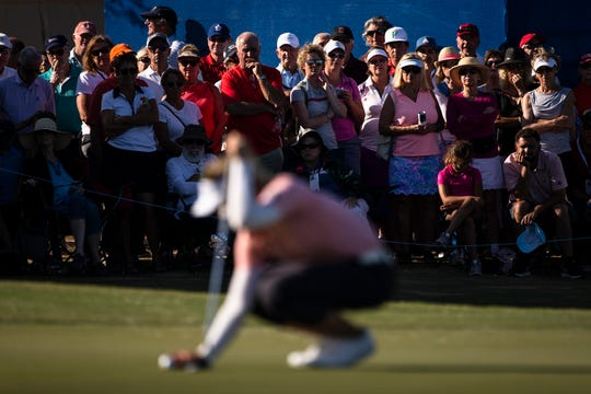 Fans look at Brooke Henderson as she gets ready for her birdie putt on No.18 during the final round of the CME Group Tour Championship on Sunday, November 24, 2019, at Tiburon Golf Club in Naples.
