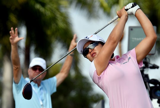 Sei Young Kim tees off on the 9th hole during the 2019 CME Group Tour Championship at the Tibur—n Golf Club in Naples, Saturday, Nov. 23, 2019.
