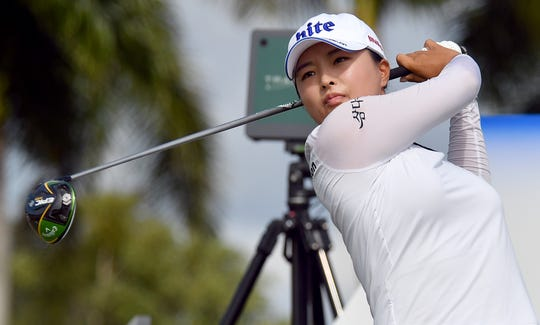 Jin Young Ko tees off on the 9th hole during the 2019 CME Group Tour Championship at the Tiburón Golf Club in Naples, Saturday, Nov. 23, 2019.