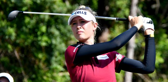 Nelly Korda tees off on the 7th hole during the 2019 CME Group Tour Championship at the Tiburón Golf Club in Naples, Sunday, Nov. 24, 2019.CHRIS TILLEY/ SPECIAL TO THE NAPLES DAILY NEWS