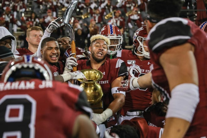 The NMSU Aggies face off against the UTEP Miners at the Aggie Memorial Stadium in Las Cruces on Saturday, Nov. 23, 2019.