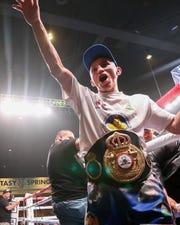 "Rene Alvarado defeated Andrew ""El Chango"" Cancio of Blythe, Calif. to capture the WBA super featherweight championship Saturday, Nov. 23, 2019 at Fantasy Springs Resort Casino in Indio, Calif."