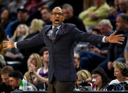 Phoenix Suns coach Monty Williams watches his team play the Minnesota Timberwolves during the third quarter of an NBA basketball game Saturday, Nov. 23, 2019, in Minneapolis. The Suns won 100-98. (AP Photo/Hannah Foslien)