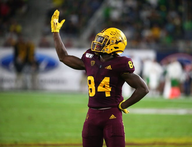Arizona State Sun Devils wide receiver Frank Darby (84) celebrates their win over Oregon during a game on Nov. 23, 2019 in Tempe, Ariz.