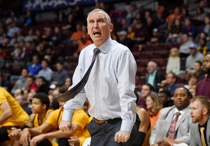 Arizona State coach Bobby Hurley reacts during the first half of a game against Virginia on Nov. 24.