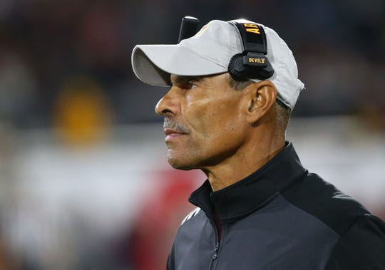 Arizona State Sun Devils head coach Herm Edwards against the Oregon Ducks in the second half during a game on Nov. 23, 2019 in Tempe, Ariz.