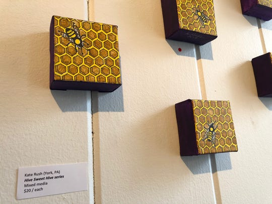 """""""Hive Sweet Hive"""" series by Kate Rush, of York, for """"The Mini Art Show"""" at HIVE artspace through Nov. 30, 2019."""
