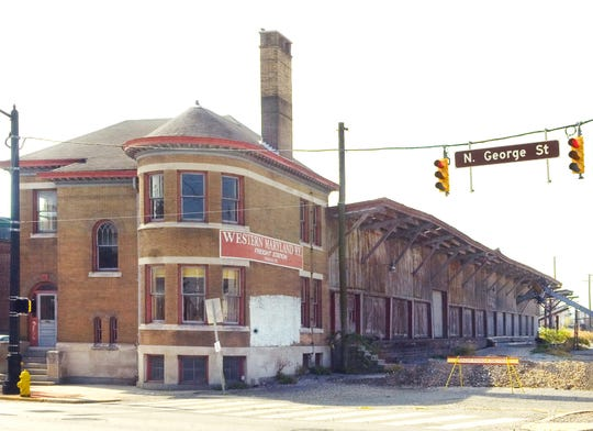 This shows the Western Maryland Railway Freight Station as it appeared in 2007, before the wooden structure that was attached to it was torn down.