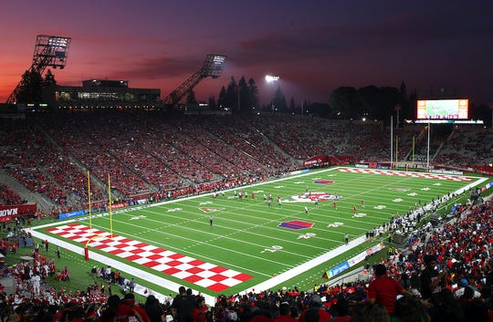 An overview of Bulldog Stadium in Fresno.