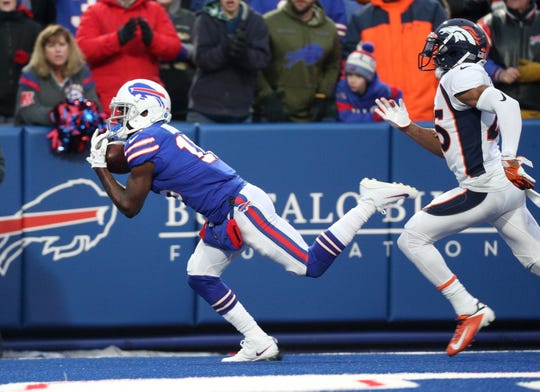 Bills receiver John Brown gets behind Broncos defender Chris Harris Jr. for a touchdown and a 20-3 win.