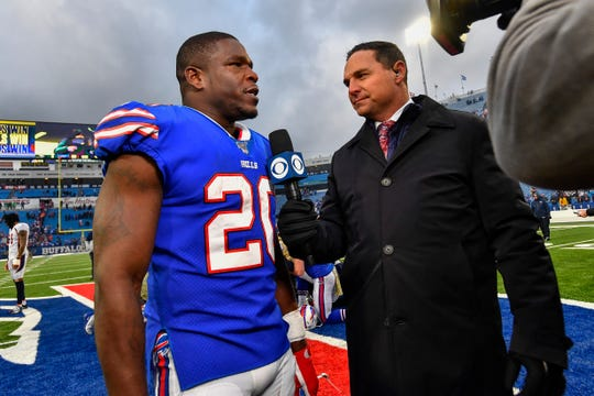 Buffalo Bills running back Frank Gore (20) talks with the media after the Bills defeated the Denver Broncos 20-3 in an NFL football game, Sunday, Nov. 24, 2019, in Orchard Park, N.Y. (AP Photo/Adrian Kraus)
