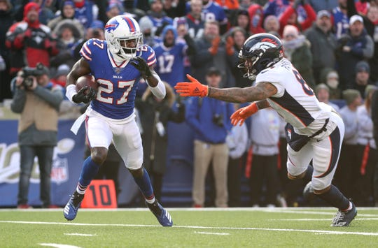 Bills Tre'Davious White made this interception inside the 10-yard line to stop a Denver drive.