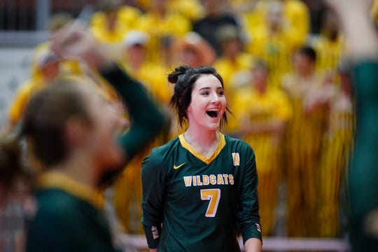 November 22, 2019; Rapid City, SD, USA; Dani Watson #7 of Northwestern reacts to a point vs. Faulkton Area at the 2019 South Dakota State Volleyball Championships at the Rushmore Plaza Civic Center in Rapid City, S.D.