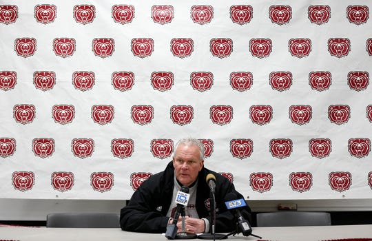 Missouri State head coach Dave Steckel takes questions after the Bears loss to the Indiana State Sycamores at Plaster Field on Saturday, Nov. 23, 2019.