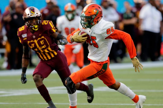 Florida A&M Rattlers wide receiver David Manigo (85) runs in a touchdown. The Bethune Cookman Wildcats beat the Rattlers 31-27.