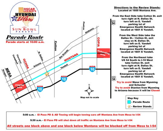 The parade route for the Thanksigiving parade Thursday.