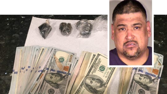 Jesus Estrada is shown in this composite photo along with some of the evidence authorities say they seized.