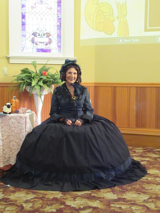 Oxnard docent Connie Korenstein dressed in period costume during her performance as Sarah Josepha Hale.