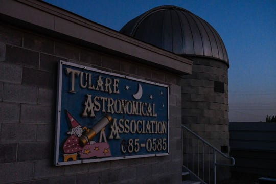 The Tulare Astronomical Association sign hangs adjacent to the observing dome at Arthur Pursell Observatory.