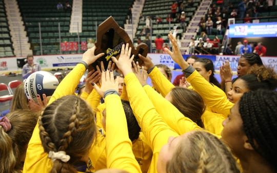 Valhalla defeats Portville 3-1 to take the NYSPHSAA Class C volleyball title at the Cool Insuring Arena in Glens Falls on Sunday, November 24, 2019.