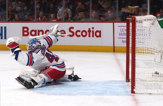 Nov 23, 2019; Montreal, Quebec, CAN; Montreal Canadiens left wing Artturi Lehkonen (not pictured) scores a goal past New York Rangers goaltender Alexandar Georgiev (40) during the first period at Bell Centre. Mandatory Credit: Jean-Yves Ahern-USA TODAY Sports