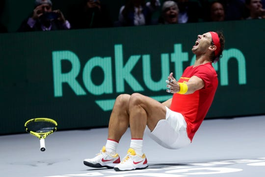 Spain's Rafael Nadal reacts after defeating Canada's Denis Shapovalov.