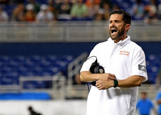Manny Diaz during a 2019 game.
