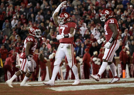 Oklahoma defensive lineman Ronnie Perkins (7) reacts during the fourth quarter against TCU at Gaylord Family - Oklahoma Memorial Stadium.