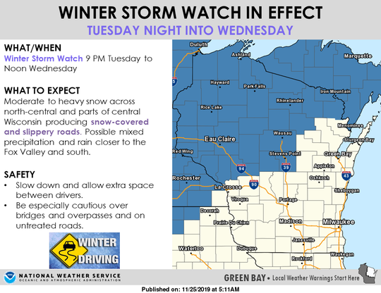 Slick conditions could be in store for Thanksgiving travelers on Tuesday and Wednesday.